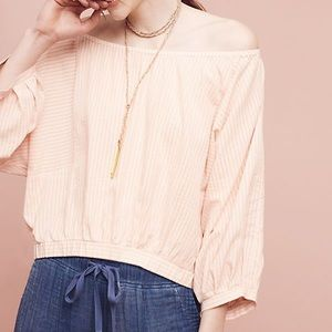 Anthro Holding Horses striped top off shoulder
